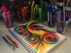 Colorful Abstract with Swirls Original Drawing by michellecuriel, $149.99