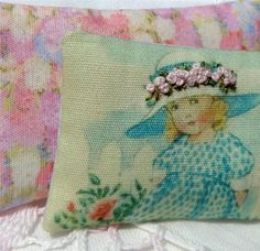 EMBROIDERY Miniature dollhouse pillow katie arthur shabby french KNOT P505 bed #DOLLHOUSELITTLES