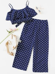 Shop Polka Dot Crop Cami Top And Palazzo Pants Set online. SheIn offers Polka Dot Crop Cami Top And Palazzo Pants Set & more to fit your fashionable needs. Girls Fashion Clothes, Teen Fashion Outfits, Trendy Outfits, Kids Outfits, Kids Fashion, Cute Outfits, Baby Outfits, Trendy Fashion, Kids Dress Wear
