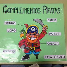 Este cartel lo hice para trabajar los complementos piratas. Los nombres van plastificados y pegados con velcro, para que puedan quitarlos y ponerlos. Les encanta ir a jugar con él y es una manera divertida de trabajar la lecto-escritura.