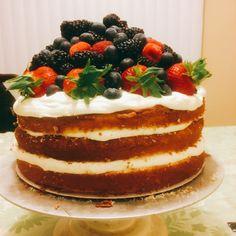 A berry wedding cake