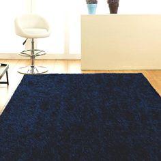 Metallic Thick, Thin Shag Rug Dark Blue 165x115cm | Shag Pile