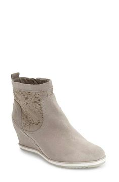 Geox 'Illusion' Perforated Wedge Bootie (Women)