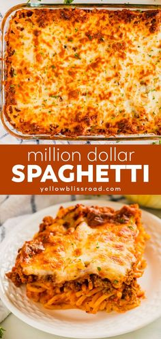 Million Dollar Spaghetti is creamy, cheesy and full of great Italian flavor. Meet your new go-to pasta bake for a crowd - this easy dinner is a sure winner! dinner pasta Million Dollar Spaghetti Pastas Recipes, Beef Recipes, Chicken Recipes, Cooking Recipes, Recipies, Cooking Gadgets, Sausage Recipes, Salad Recipes, Million Dollar Spaghetti
