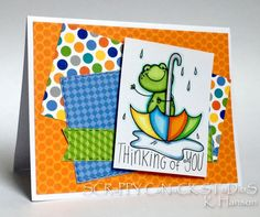 Karen Hanson:  SCRaPPY CaNuCK STuDioS - Rainy days! - 4/23/17.  2 Cute Ink: Froggy in the Rain).  (Pin#1: 2 Cute Ink... Pin+: Animals: Cold-Blooded; Apparel: Umbrellas...).
