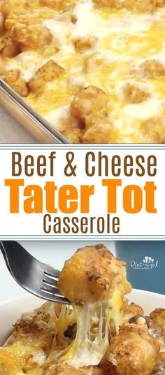 Beef and Cheese Tater Tot Casserole Super-easy, crazy-cheesy, beefy, tater tot casserole is packed with spices and a homemade cream sauce that will win your family over! This is sure to be family favorite wiht comfort foodies who love casseroles! Tator Tot Casserole Recipe, Casserole Recipes, Hamburger Casserole, Chicken Casserole, Tater Tot Caserole, Tater Tot Recipes, All Family, Family Meals, Family Recipes
