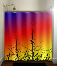 Grass Branch Rainbow Sunset Bird Shower Curtain Bathroom Decor Fabric Kids Bath White Black Custom Duvet