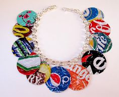 Repurposed soda cans made into jewelry