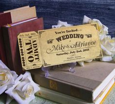 Vintage Ticket Save the Date or Wedding by CottontailPress on Etsy, $1.75