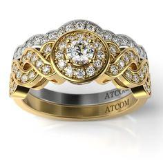 Inel de logodna din aur galben si alb cu diamante Atkins