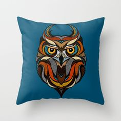 Oldschool+Owl+Throw+Pillow+by+Andreas+Preis+-+$20.00
