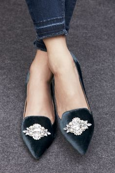 Jeweled flats in blue velvet | Sole Society Libry