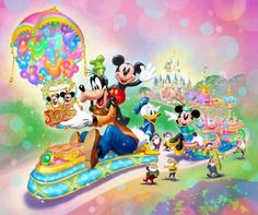 Tokyo Disneyland Park Happiness Is Here Celebration website Mickey Mouse And Friends, Disney Mickey Mouse, Walt Disney, Minnie Mouse, Disneyland Parade, Tokyo Disneyland, Goofy Pictures, Goofy Pics, Disney Artwork
