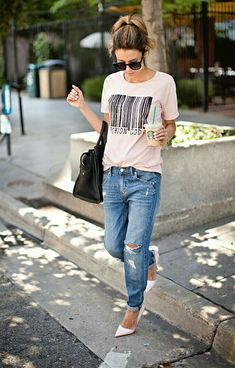 Target Blue Distressed Denim Slim Boyfriend Jeans by Hello Fashion. What a risky look. Don't know if I'd pull it off but I love the risk! Fashion Mode, Moda Fashion, 80s Fashion, Petite Fashion, Latest Fashion, Style Fashion, Curvy Fashion, Fashion News, Fashion Trends