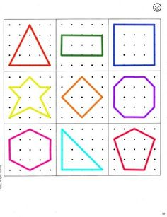 Geoboard Shapes Template Disabilities More Pins Like This At – Ideas For Kindergarten Montessori Activities, Kindergarten Math, Educational Activities, Toddler Activities, Learning Activities, Preschool Activities, Kids Learning, Geo Board, Shape Templates