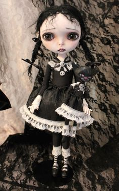 Wednesday and the Werecat  11.5 inch posable goth monster art doll