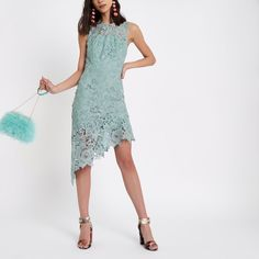 Shop our new Light blue lace asymmetric hem midi dress at River Island today. Light Blue Lace Dress, Blue Midi Dress, Flare Dress, Cocktail Party Outfit, Dress With Stockings, Blue And White Shorts, Dress Outfits, Model, Fashion Vocabulary