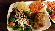 Salmon, salad, sweet potato fries