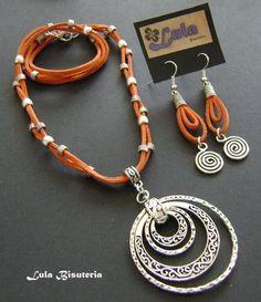 Clay Jewelry, Jewelry Crafts, Handmade Jewelry, Leather Necklace, Leather Jewelry, Girls Jewelry, Jewelry Sets, Jewelery, Jewelry Necklaces