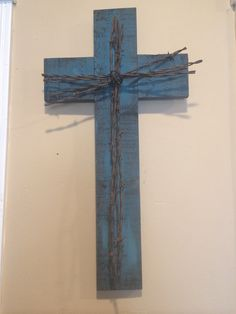 Rustic wood and Barbed wire cross by RawhideandRust on Etsy