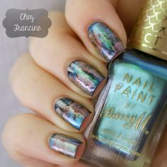 A distressed/grunge/punky nail art is made with the brush almost dry. You have to wipe almost all of the polish off the brush. No tool required. I started with two coats of KIKO Quick Dry 819 and once dry I've added few brushstrokes of Barry M Aquarium Persian, Barry M Aquarium Pacific, Barry M Aquarium Mediterranean, China Glaze Passion and Gosh Holographic Hero