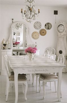 Shabby chic dining room. #white