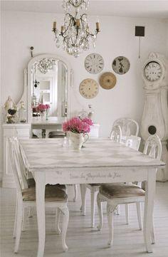 Shabby chic dining room. #white