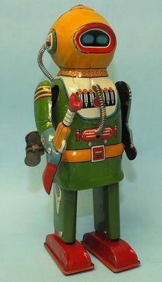 ATOMIC Crazy  . . .   1955 NAITO SHOTEN INTERPLANETARY EXPLORER ROBOT TIN WIND UP SPACE TOY