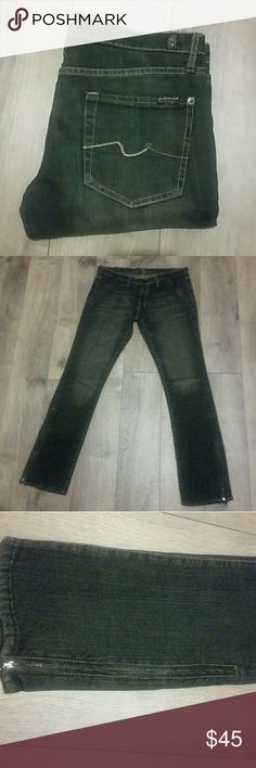 """7 for all Mankind Roxy style  Zipper Jeans Dark wash, straight leg with zippers at the ankles and pockets. 31.5"""" inseam. No fraying at the heels. These just didn't fit me and I'm heartbroken, but I bet they'll look great on you! 7 For All Mankind Jeans Straight Leg"""