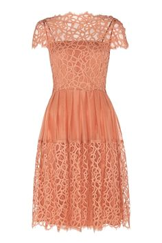 Lace Splicing Round Neck Short Sleeve Dress - dang, that's a beautiful dress. and in the sweetest peachy color