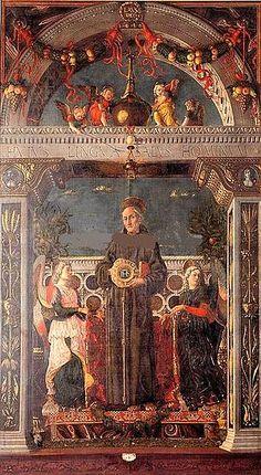 San Bernardino of Siena, between two angels, Andrea Mantegna, 1460 Italian Renaissance, Renaissance Art, Sculpture Romaine, Andrea Mantegna, Italian Paintings, Tempera, Learn To Paint, Chiaroscuro, Siena