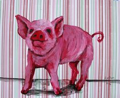 Pigs are social, playful, intelligent animals who have been found to be more sophisticated than dogs and even 3-year-old children. They are protective of their young. They form strong social bonds. But every year, 115 million of these animals are killed for food. Click to learn how you can make a difference | Animal art by Dana Ellyn