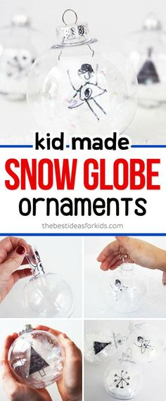 Kid-made DIY Snow Globe Ornaments! A fun craft for kids to make this holiday season and use as a gift or to decorate a tree! #kidscrafts #Christmascrafts