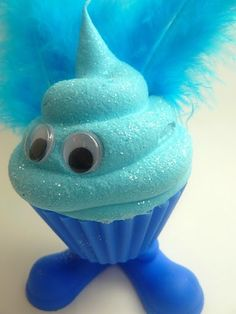 Fake Cupcake Faux Cupcake Critter Blue Feathers by frankschick, $12.00