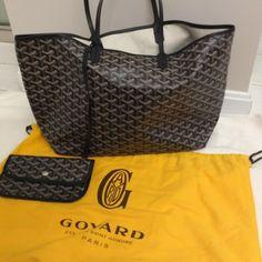Authentic Goyard Chevron St. Louis PM Black Tote Bag Goyard Handbags, Goyard  Bag, 40a3313d579