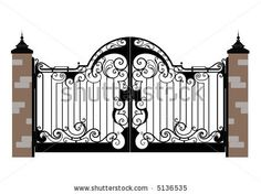 Ornate smart forged iron  gate-accurate drawing sketch of editable modules - stock vector