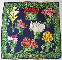 Vintage Gucci Floral Silk Scarf via etsy