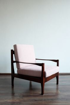 Fully renovated cozy armchair in Danish style from the 70s. Or the 80s? The wooden parts were professionally restored, as well as the new upholstery. Simple and elegant in powder pink. Pieces available: 1 Restoration state: Fully renovated Made in: Czechoslovakia Produced in: 70s