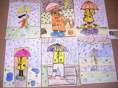 Tekenopdracht. Teken jezelf in de regen. 'Dancing in the rain!'