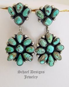 Artist signed Bea Tom Native American Carico Lake Turquoise double cluster post earrings | Schaef Designs New Mexico