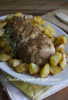 polpettone al forno con patate al forno farcito ripieno con prosciutto funghi scamorza mozzarella ricetta secondo gustoso (1)