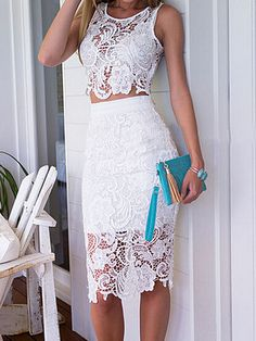 White Transparent Lace Crop Top & Skirt Two Piece Sets