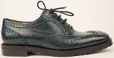 DRIES VAN NOTEN Petrol Leather Wingtip Oxford Shoes EU 36.5 US 6.5 $835 #DriesVanNoten #Oxfords