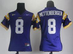 Women NCAA LSU Tigers Zach Mettenberger 8 Purple College Football Jerseys