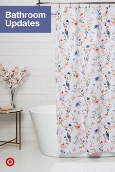 Find decor for an easy bathroom remodel, from shower curtains to vanity ideas, to transform your master or guest bath. Bird Shower Curtain, Shower Curtains, Vanity Ideas, Guest Bath, Bathroom, Decorative Pillows, Easy, Sweet Home, Wall Decor