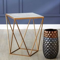 Jaedon square side table in marble top with gold frame, will compliment any decor and become luxurious addition any room - with-gold-frame- shop modern & contemporary marble end & side tables for your living room, faux. Contemporary Dining Room Furniture, Marble Furniture, Contemporary Side Tables, Modern Side Table, Side Table Decor, Table Decorations, Marble Top End Tables, Marble Lamp, Square Side Table