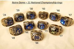 University of Notre Dame - ND - Fighting Irish - football - the 11 National Championship Rings