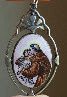 Vintage French Porcelain Saint Anthony Medal Pendant Enamel Saint Art Deco Catholic Jewelry Religious Jewelry Catholic Gift Religious Gift by PinyolBoiVintage on Etsy