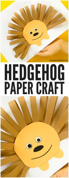 Paper Strips Hedgehog Craft for Kids. Great Fall craft for kids to make.