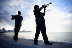 Two Musicians on the Malecon, Havana. Cuba.